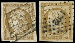 EMISSION DE 1849 - 1    10c. Bistre-jaune, 2 Nuances, Obl. GRILLE Et PC, TB - 1849-1850 Ceres