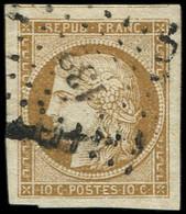 EMISSION DE 1849 - 1a   10c. Bistre-brun, Obl. PC, Marges énormes, TTB. C - 1849-1850 Ceres