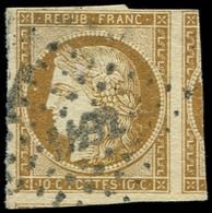 EMISSION DE 1849 - 1a   10c. Bistre-brun, Obl. PC, Voisin à Droite Et Amorce De Voisin En Bas, TTB. Br - 1849-1850 Ceres