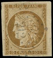 EMISSION DE 1849 - 1a   10c. Bistre-brun, Petit Bdf, Grandes Marges, Obl. PC 212, TTB - 1849-1850 Ceres