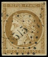 EMISSION DE 1849 - 1a   10c. Bistre-brun, Obl. PC 3515, TB. C - 1849-1850 Ceres