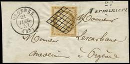 EMISSION DE 1849 - 1b   10c. Bistre-VERDATRE Obl. GRILLE S. Fragt, Càd T15 ORGERES 21/7/51 Et Cursive 27/TERMINIERS, TTB - 1849-1850 Ceres