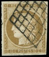 EMISSION DE 1849 - 1b   10c. Bistre-VERDATRE, Obl. GRILLE, TB, Certif. Calves - 1849-1850 Ceres