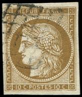 EMISSION DE 1849 - 1c   10c. Bistre-VERDATRE FONCE, Obl. GRILLE, Très Jolie Nuance Certifiée Calves, TTB - 1849-1850 Ceres