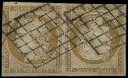 EMISSION DE 1849 - 1d   10c. Bistre-jaune, TETE-BECHE, Obl. GRILLE, Restaurée, B/TB. J - 1849-1850 Ceres