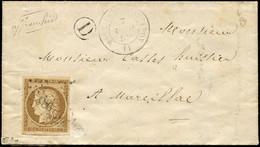 Let EMISSION DE 1849 - 1a   10c. Bistre-brun, Obl. PC 1867 S. LAC, Càd T15 MARCILLAC D'AVEYRON 7/4/52 Et Boite D De CLAI - 1849-1876: Periodo Classico
