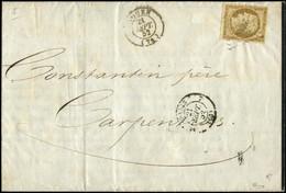 Let EMISSION DE 1849 - 1b   10c. Bistre-VERDATRE, Obl. PC 2738 S. Faire-part, Càd T15 ROUEN 21/9/52, TB. C - 1849-1876: Periodo Classico