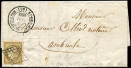 Let EMISSION DE 1849 - 1c   10c. Bistre-VERDATRE FONCE, Obl. GRILLE S. LAC, Càd T14 St GERMAIN-LESPINASSE 21/5/51, TTB,  - 1849-1876: Periodo Classico
