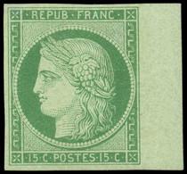 * EMISSION DE 1849 - 2    15c. Vert, BORD De FEUILLE, Grande Fraîcheur, TTB - 1849-1850 Ceres