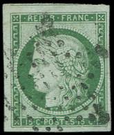 EMISSION DE 1849 - 2    15c. Vert, Obl. ETOILE, Très Grandes Marges Dont 2 Voisins, TTB - 1849-1850 Ceres
