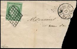 EMISSION DE 1849 - 2    15c. Vert, Obl. GRILLE S. Fragt Avec Cachet Levée De Midi/D, Très Frais, TB. J - 1849-1850 Ceres