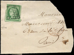 EMISSION DE 1849 - 2    15c. Vert, 3 Très Grandes Marges, La 4e Intacte, Obl. GRILLE S. Fragt Avec Cachet De Levée, TB. - 1849-1850 Ceres