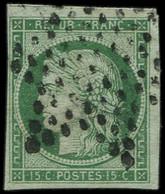 EMISSION DE 1849 - 2    15c. Vert, Obl. ETOILE, 2 Très Grandes Marges, TB. C - 1849-1850 Ceres