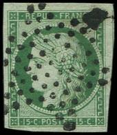EMISSION DE 1849 - 2    15c. Vert, Obl. ETOILE, 2  Belles Marges, Amorce De Voisin, TB/TTB - 1849-1850 Ceres