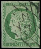 EMISSION DE 1849 - 2    15c. Vert, Obl. GRILLE SANS FIN, TB. C Et Br - 1849-1850 Ceres