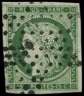 EMISSION DE 1849 - 2b   15c. Vert FONCE, Oblitéré ETOILE, TB. C - 1849-1850 Ceres