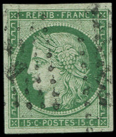 EMISSION DE 1849 - 2b   15c. Vert FONCE, Très Bien Margé, Obl. Losange Léger, TTB. J - 1849-1850 Ceres