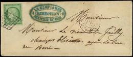 Let EMISSION DE 1849 - 2    15c. Vert, Obl. GRILLE S. LSC, Càd Rouge PARIS/PP/Diston De 4h.s, Arr. 11/10/50 Au Verso, TB - 1849-1876: Periodo Classico
