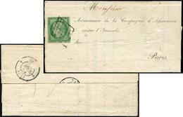 Let EMISSION DE 1849 - 2    15c. Vert, Obl. GRILLE S. Reçu De La Compagnie D'Assurances, Au Verso Càd PARIS 30/4/51, TB - 1849-1876: Periodo Classico