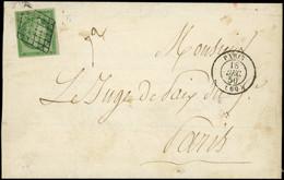Let EMISSION DE 1849 - 2    15c. Vert, Obl. GRILLE S. LAC, Càd PARIS 18/12/50, TB - 1849-1876: Periodo Classico