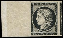** EMISSION DE 1849 - 3    20c. Noir Sur Jaune, Grand BORD De FEUILLE Et Voisin De L'autre Côté, Superbe - 1849-1850 Ceres