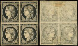 ** EMISSION DE 1849 - 3h   20c. Noir INTENSE S. Jaune, BLOC De 4, Paire Sup. *, Impr. RECTO VERSO, Superbe. J - 1849-1850 Ceres