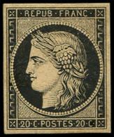 * EMISSION DE 1849 - 3    20c. Noir Sur Jaune, Nuance Proche De Chamois, TB - 1849-1850 Ceres