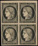 * EMISSION DE 1849 - 3    20c. Noir Sur Jaune, BLOC De 4 Petit Cdf, Qqs Légères Brunissures, Sinon TB - 1849-1850 Ceres
