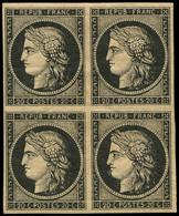* EMISSION DE 1849 - 3    20c. Noir Sur Jaune, BLOC De 4, 2 Ex. **, TB. Br - 1849-1850 Ceres