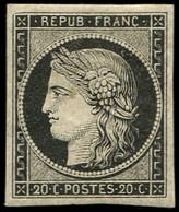 * EMISSION DE 1849 - 3a   20c. Noir Sur Blanc, Forte Ch., TB. C - 1849-1850 Ceres