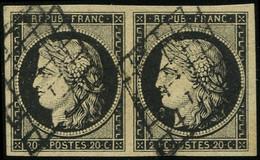 EMISSION DE 1849 - 3    20c. Noir Sur Jaune, PAIRE Obl. GRILLE, TTB - 1849-1850 Ceres