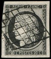 EMISSION DE 1849 - 3a   20c. Noir Sur Blanc, Très Grandes Marges, TTB - 1849-1850 Ceres
