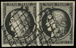EMISSION DE 1849 - 3a   20c. Noir Sur Blanc, PAIRE Obl. GRILLE, TB - 1849-1850 Ceres