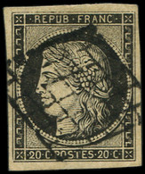EMISSION DE 1849 - 3b   20c. Noir Sur Chamois, Obl. GRILLE, TB - 1849-1850 Ceres
