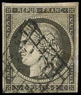 EMISSION DE 1849 - 3c   20c. GRIS-NOIR, Obl. GRILLE, TB - 1849-1850 Ceres