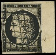 EMISSION DE 1849 - 3h   20c. Noir INTENSE, Petit Bdf, Obl. GRILLE, TTB/Superbe - 1849-1850 Ceres