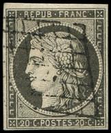 EMISSION DE 1849 - 3i   20c. GRIS, Obl. GRILLE, TTB, Certif. Calves - 1849-1850 Ceres