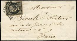 Let EMISSION DE 1849 - 3    20c. Noir Sur Jaune, Obl. GRILLE S. Petite LSC De Paris Pour Paris, 2/50, TTB - 1849-1876: Periodo Classico