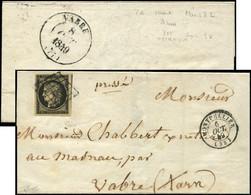 Let EMISSION DE 1849 - 3    20c. Noir Sur Jaune, Voisin à Droite, Obl. GRILLE S. LSC, Càd T15 MONTPELLIER 6/10/49, Menti - 1849-1876: Periodo Classico