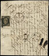 Let EMISSION DE 1849 - 3    20c. Noir Sur Jaune, Obl. GRILLE S. LAC, Càd Rougeâtre BUREAU CENTRAL 22/2/49, Au Verso Curs - 1849-1876: Periodo Classico