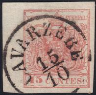ITALIA ANTICHI STATI 1850 LOMBARDO VENETO C.15 AMPIO BDF SASS. 6 USATO ANNULLO CAVARZERE PT.2 SPLENDIDO - Lombardo-Vénétie