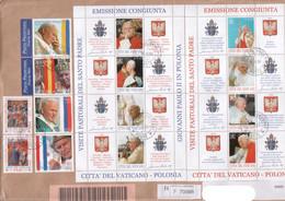 """Vaticano - 2004 - Lettera Viaggiata """"San Pio V + Viaggi 2003 +Visita In Polonia"""" S. Cpl 2v+4v+2foglietti - FDC"""