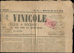 """Let JOURNAUX -  9 : 2c. Rose Obl. TYPO S. Journal """"LE MONITEUR VINICOLE"""" Du 20/4/70 (qqs Défauts), TB - Zeitungsmarken (Streifbänder)"""