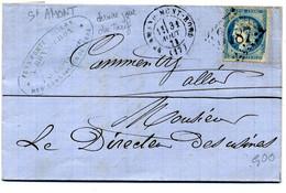 Lettre Avec N° 37 + Losange  GC 3487 St Amand Mont Rond + Cachet Dernier Jour Du Tarif + étiquette En 1871 ( T 284) - 1849-1876: Classic Period