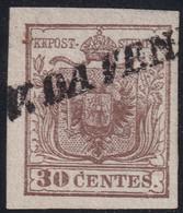 """ITALIA ANTICHI STATI 1850 LOMBARDO VENETO C.30 SASS. 7  USATO ANNULLO """" VENEZIA COL VAPORE """" PT.9 SPLENDIDO CV € 480 - Lombardo-Vénétie"""