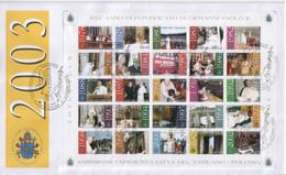 """Vaticano - 2003 - FDC """"Gli Anni Del Pontificato Di G. Paolo II"""" In Foglietto - FDC"""