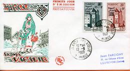 "Maroc,FDC 1er Jour; 1960,n°411/412""entr'aide Nationale;Agadir ""Morocco,Marruecos - Morocco (1956-...)"