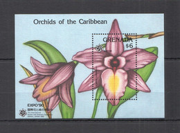WW887 1990 GRENADA FLORA NATURE FLOWERS ORCHIDS OF THE CARIBBEAN BL MNH - Orchideen