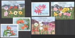 A056 CENTRAL AFRICA CENTRAFRICAINE FLORA THE PRETTY FLOWERS !!! 3BL+3KB MNH - Orchideen