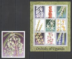 A063 UGANDA FLORA FLOWERS ORCHIDS OF UGANDA 1KB+1BL MNH - Orchideen